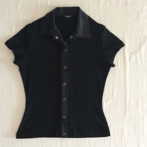Tops - Via Moda Paris Black Short Sleeve Shirt